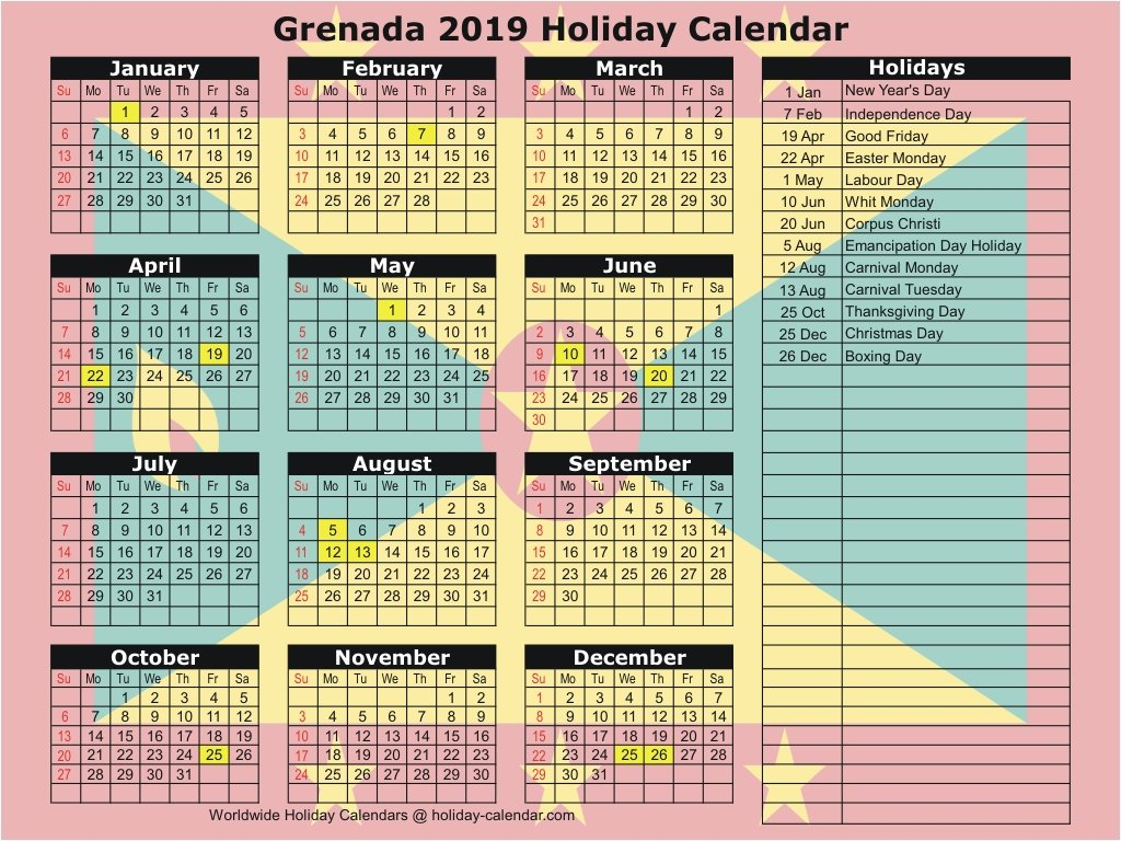 Grenada 2019 / 2020 Holiday Calendar Feb 7 2019 Calendar