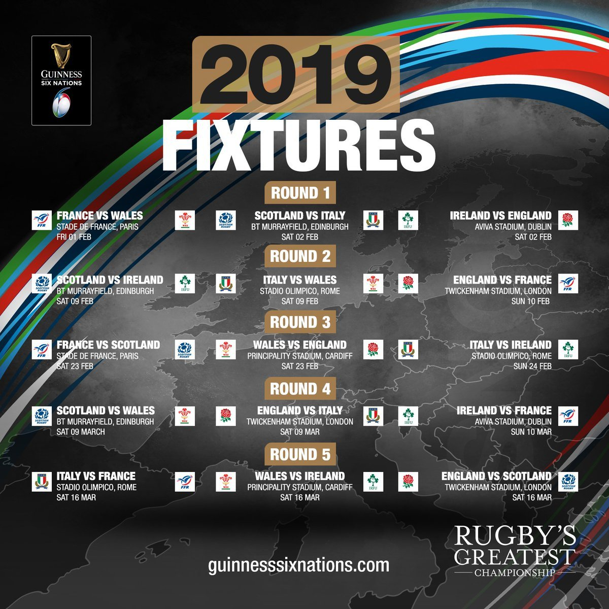 "Guinness Six Nations On Twitter: ""the Guinness Six Nations Starts On 6 Nations 2019 Calendar Download"