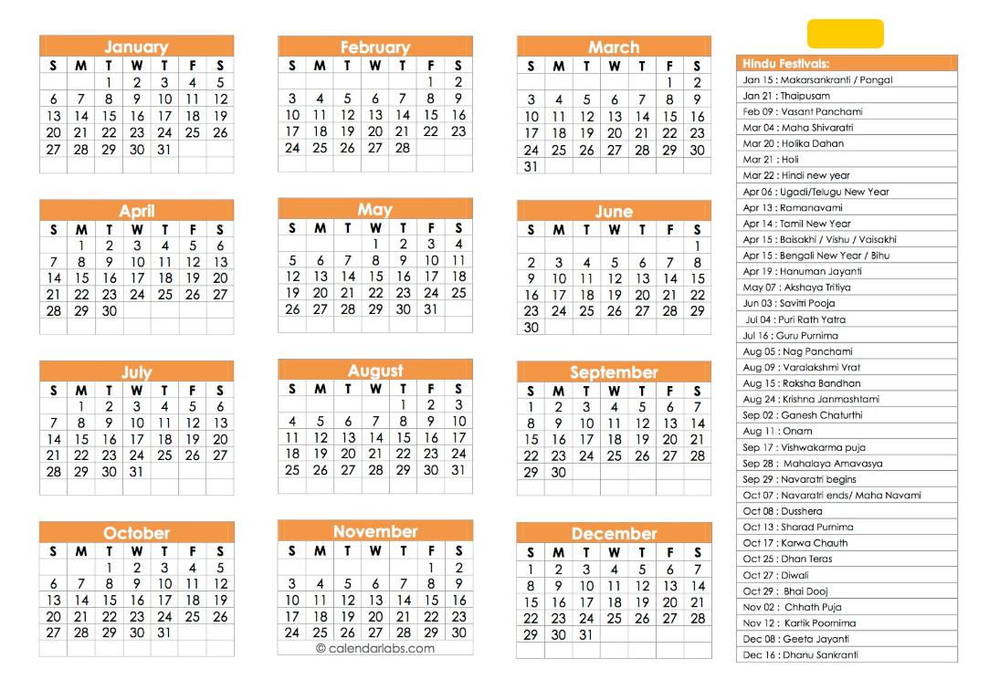 Hindu Calendar 2019 | Festivals, Tyohar, Panchang, Tithi - Calendar Calendar 2019 Hindu