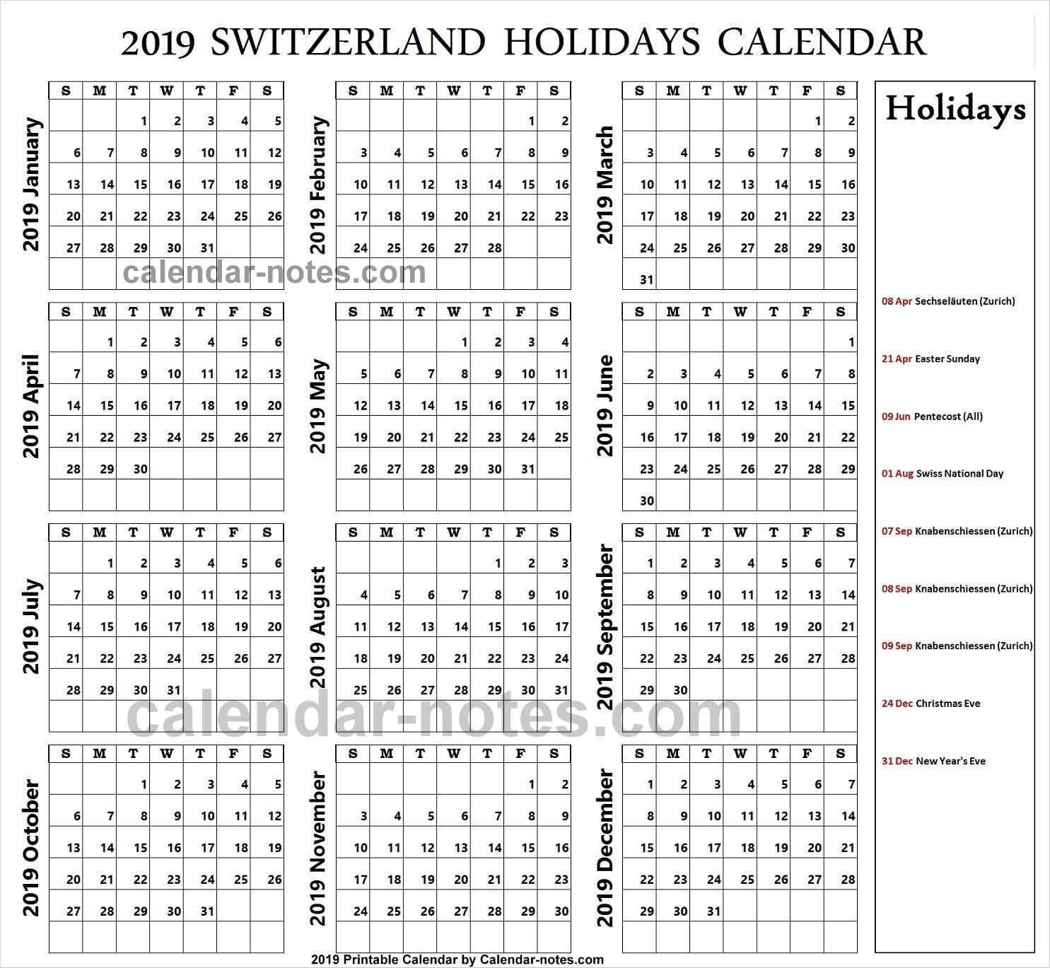 Holidays Calendar 2019 Zurich • Printable Blank Calendar Template Holiday Calendar Zurich 2019