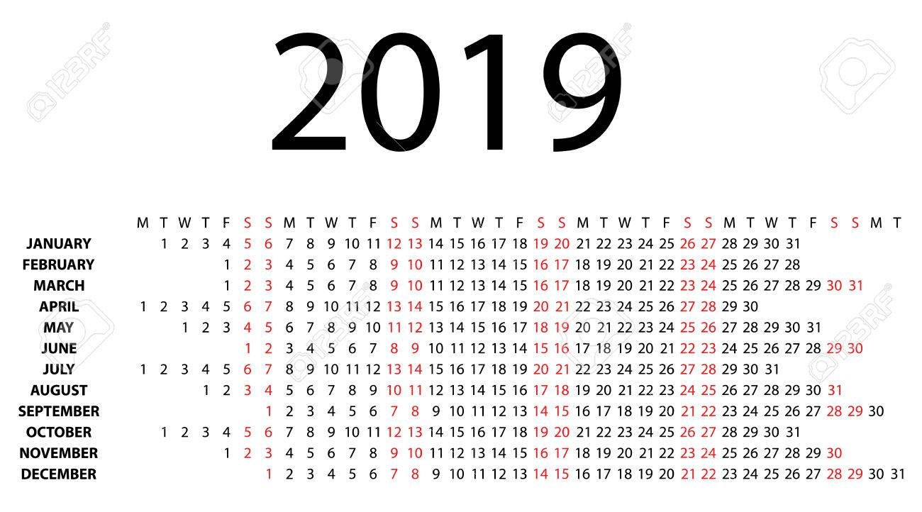 Horizontal Calendar For 2019 On White Background Vector Eps10 Calendar 2019 Horizontal