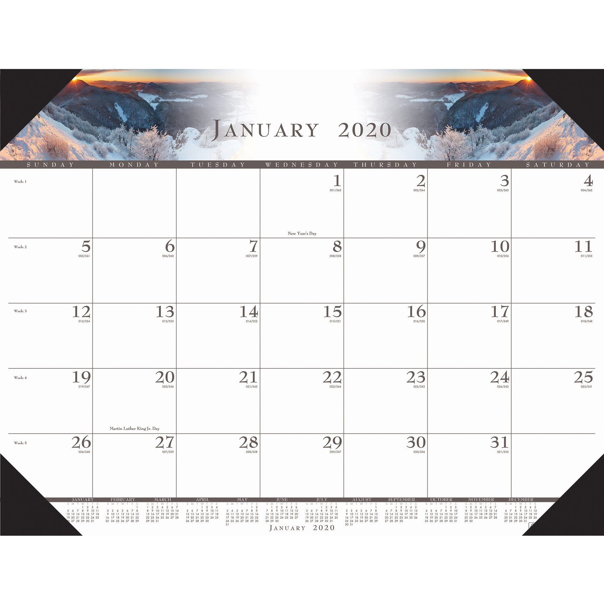 House Of Doolittle Recycled Illustrated Desk Pad Calendar - Yes - Monthly -  January 2019 Till December 2019 - 1 Month Single Page Layout - 22 X 17 - Calendar 2019 House
