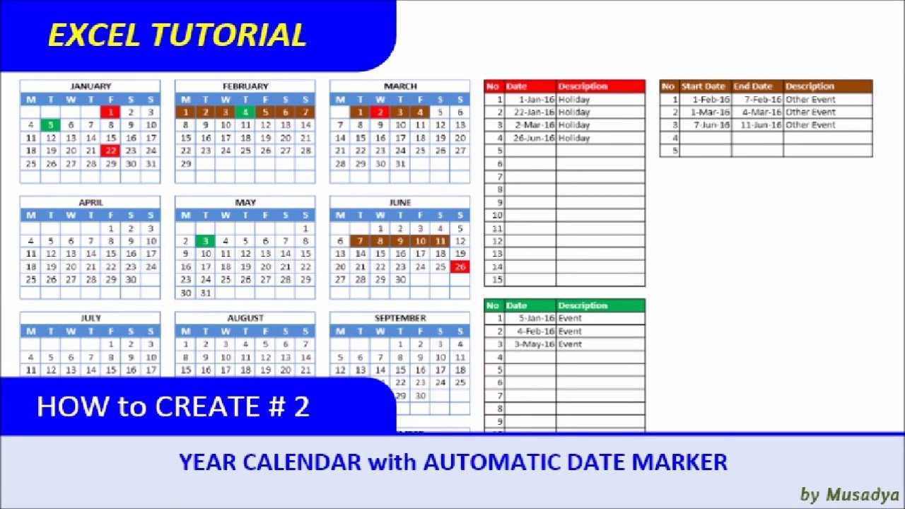 How To Create Excel Calendar For Specific Year With Automatic Date 4-4-5 Calendar 2019 Excel