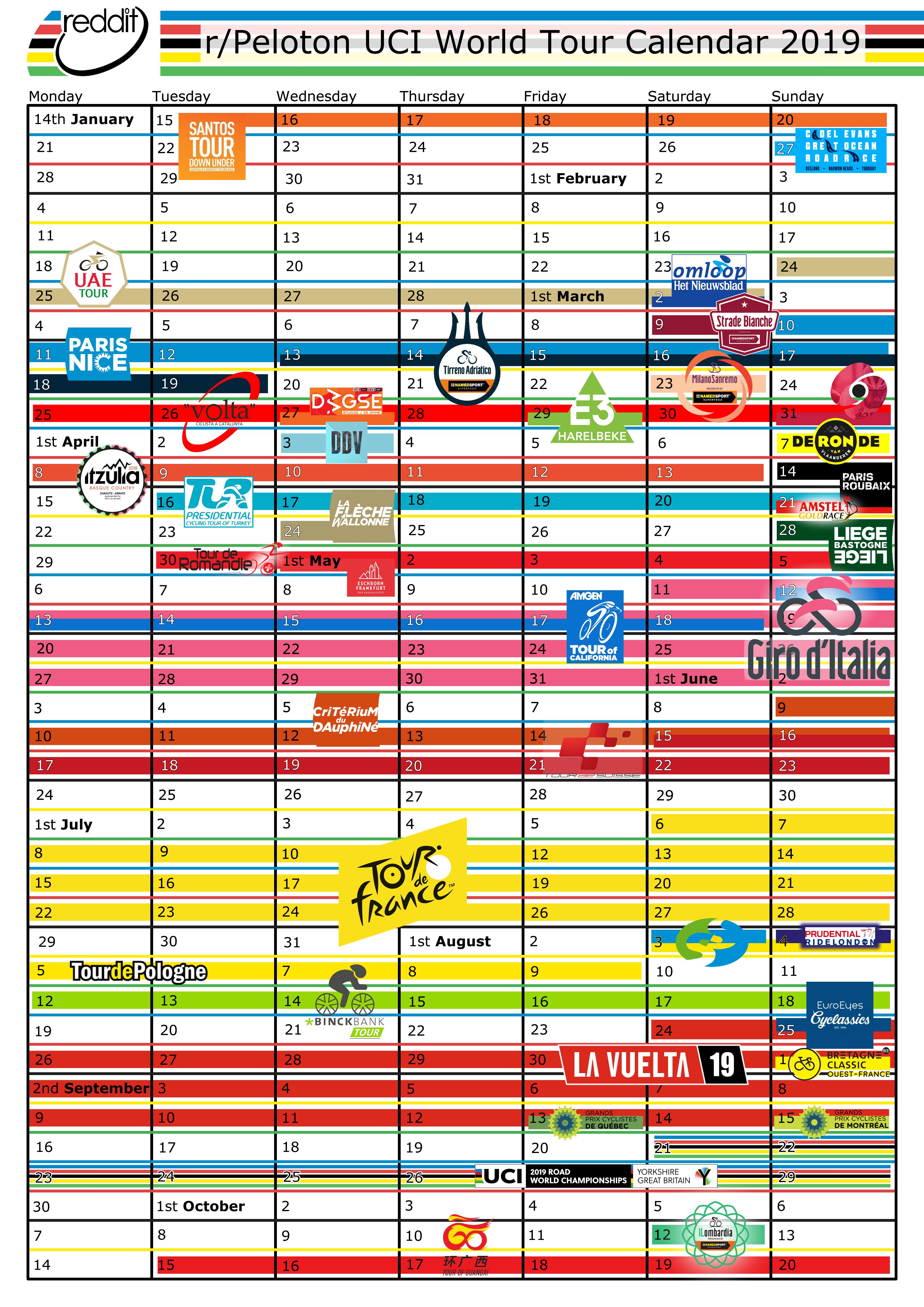 I Made A Printable 2019 World Tour Calendar : Peloton Calendar 2019 Uci