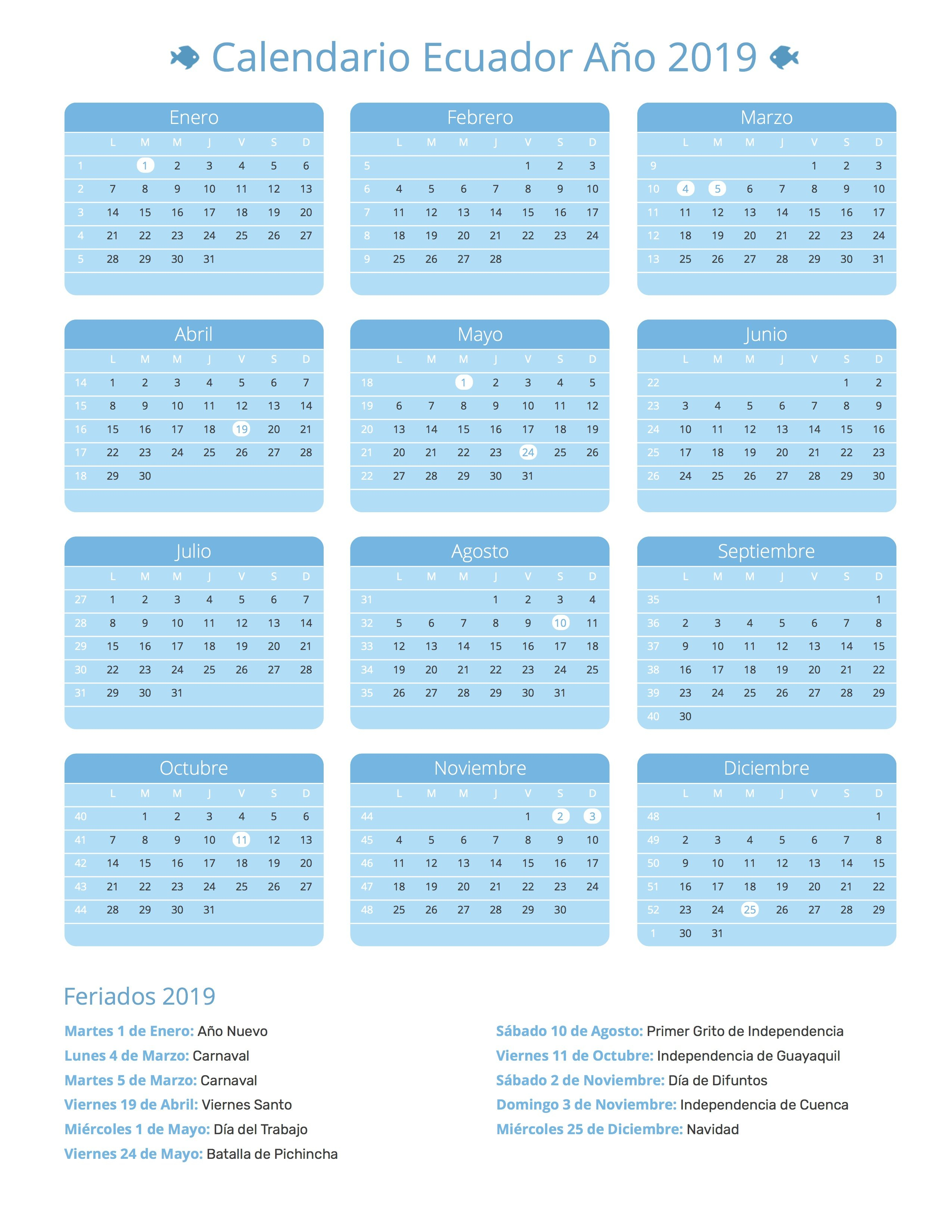 Index Of /print/calendario/agua/2019 Calendar 2019 Ecuador