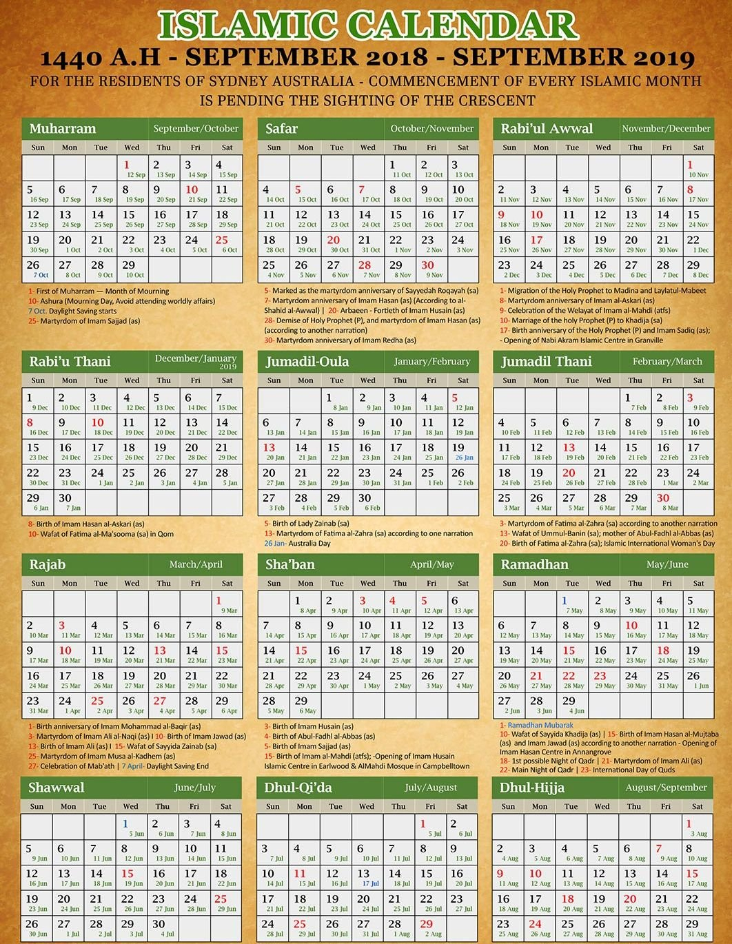 Islamic Calendar 2019: (Hijri Calendar Today Date) Pdf Download Calendar 2019 Hijri
