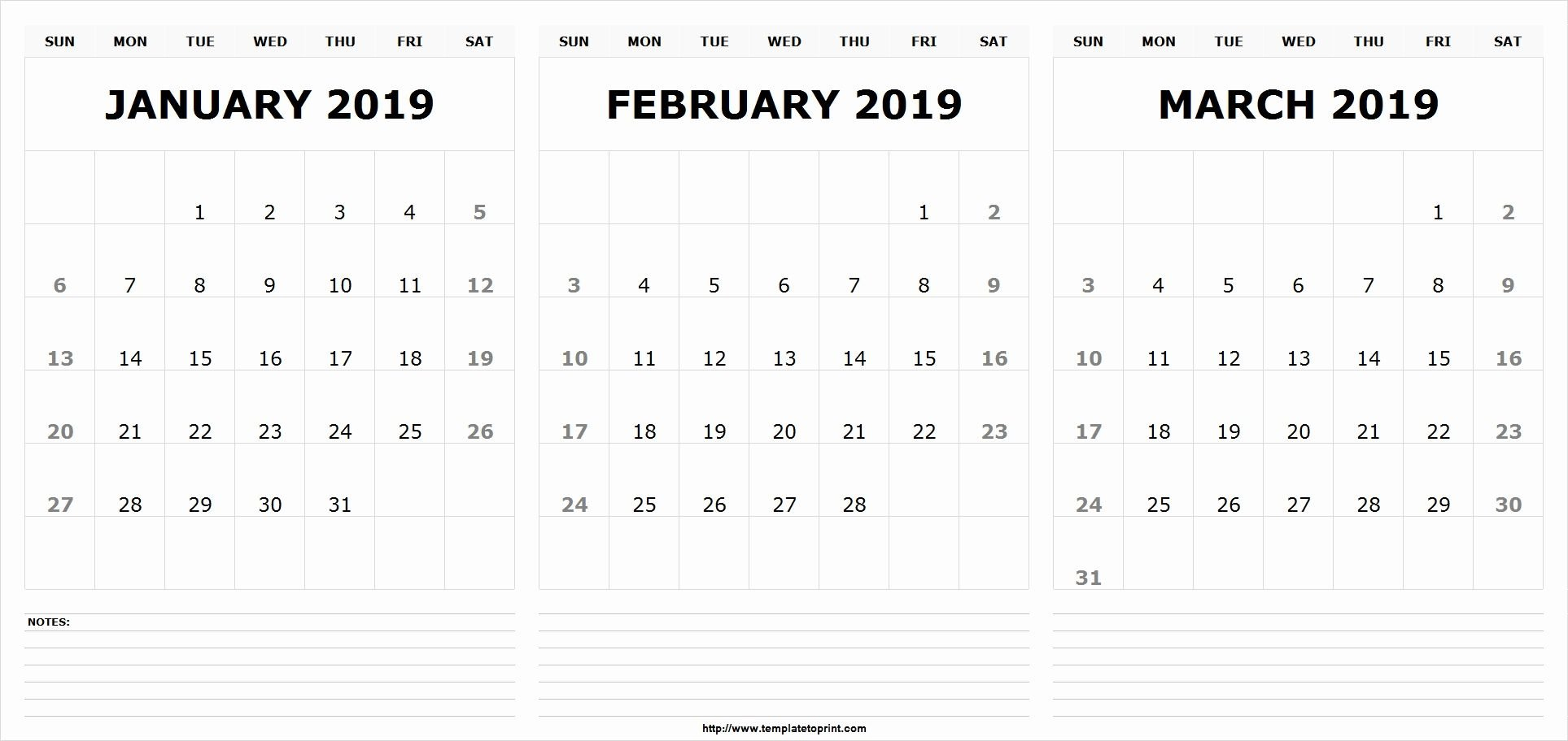 Jan Feb March 2019 Calendar Template | 555+ December January Calendar 2019 Jan Feb March