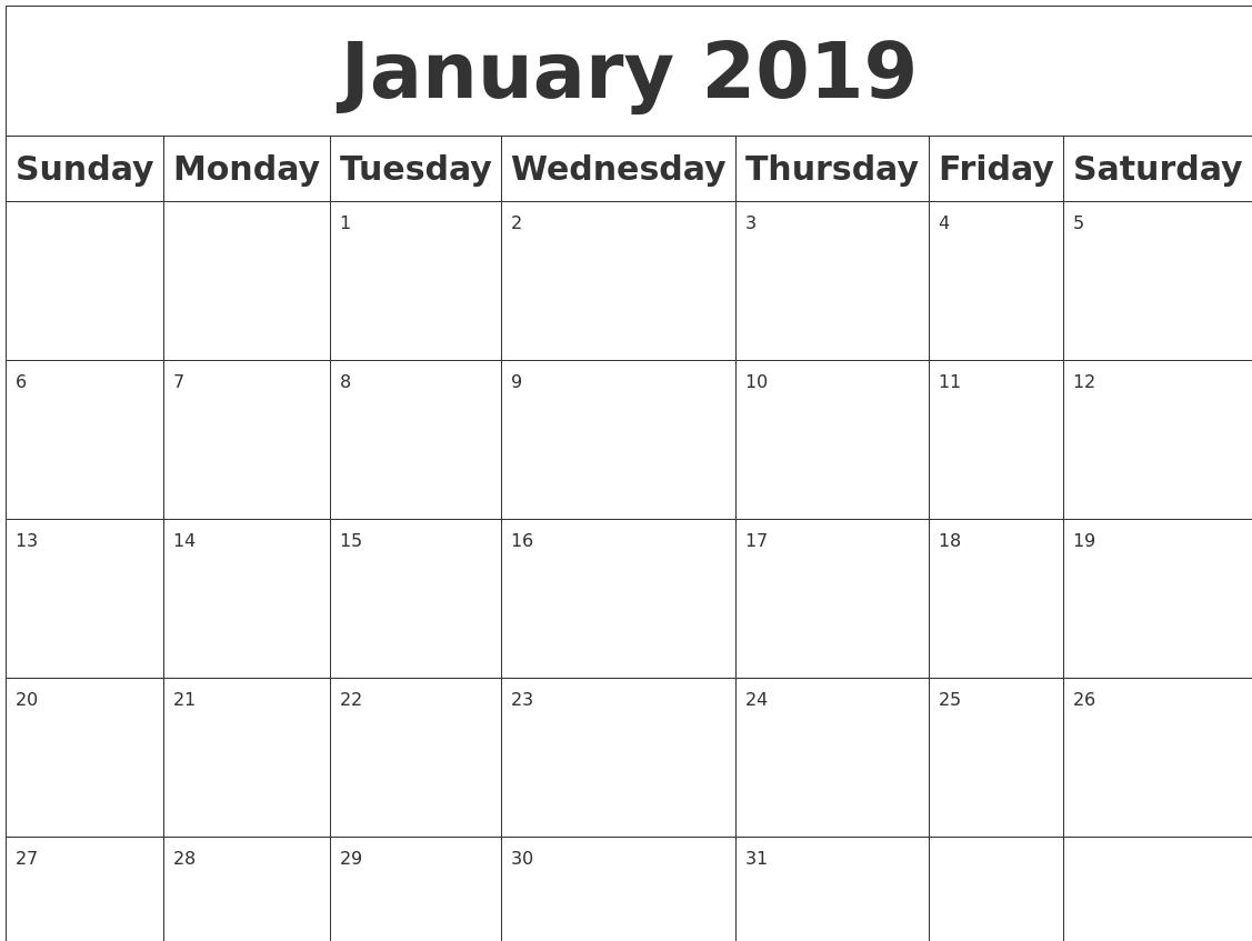 January 2019 Blank Calendar Calendar 2019 Blank