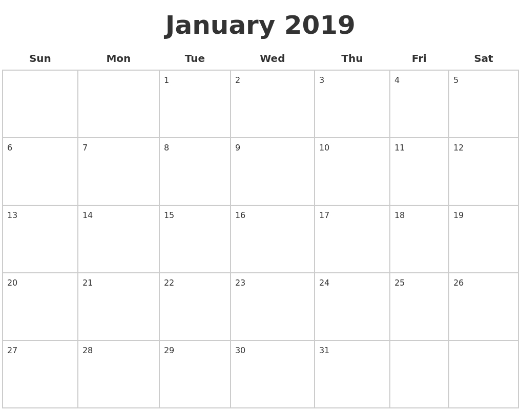 January 2019 Blank Calendar Pages Calendar 2019 Pages