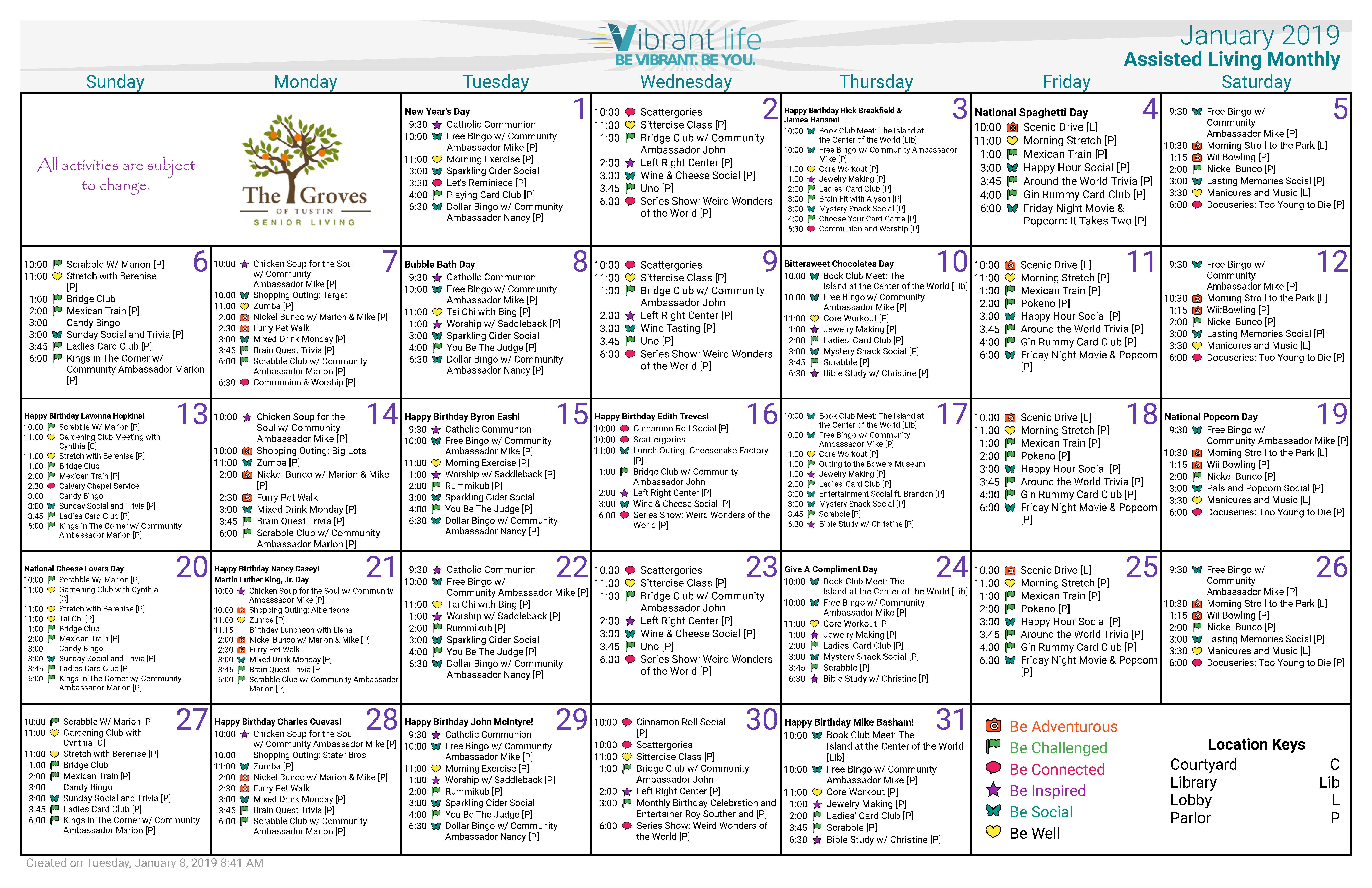 January-2019-Calendar Al - Groves Of Tustin Calendar 2019 At Target