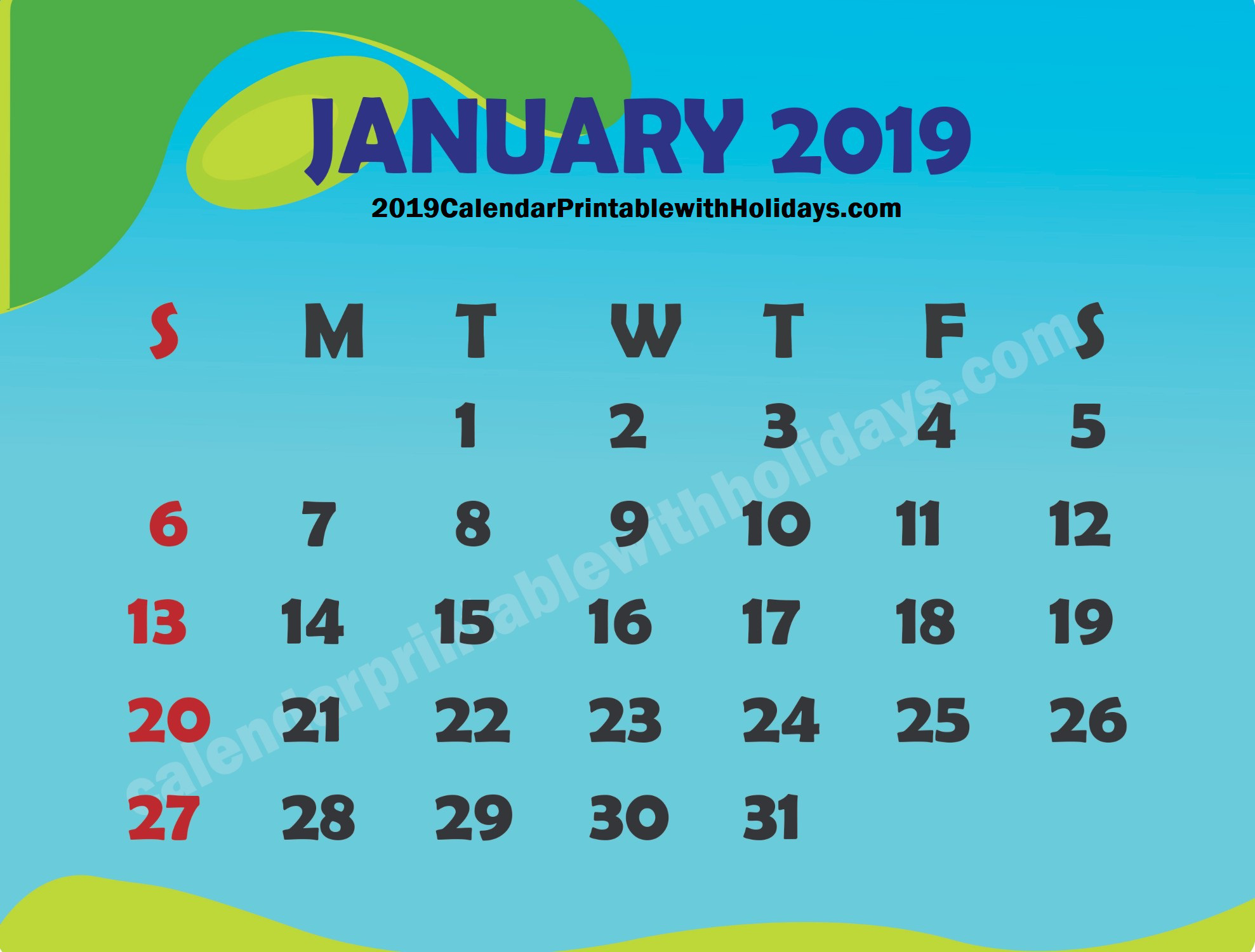 January 2019 Calendar - Calendar Printable Template Holidays 2019 6 Nations 2019 Calendar Download