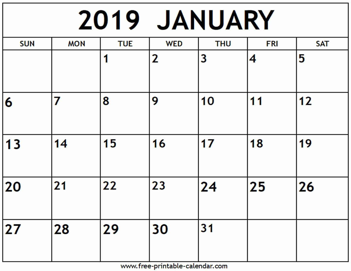 January 2019 Calendar - Free-Printable-Calendar Calendar Of 2019 January