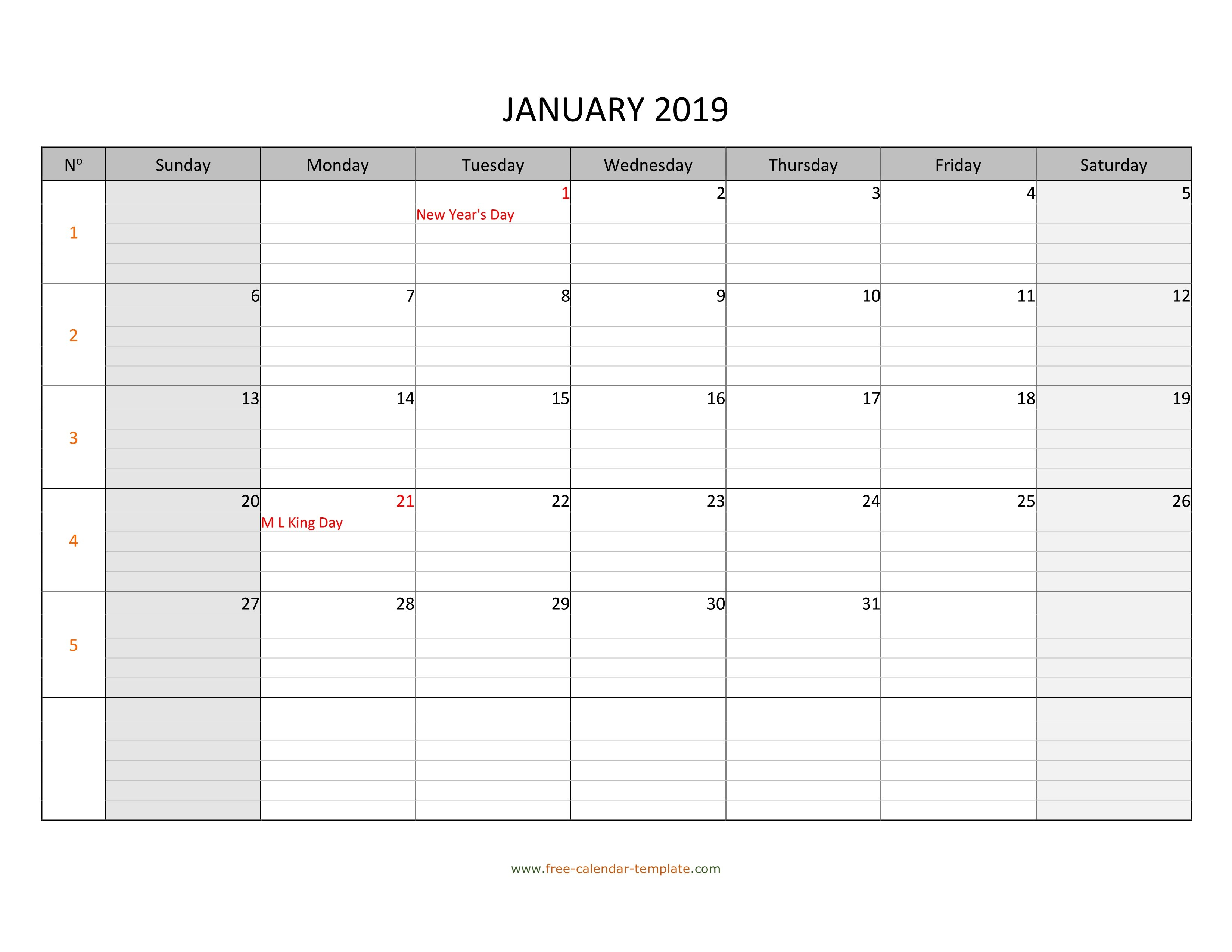 January 2019 Calendar Free Printable With Grid Lines Designed Calendar 2019 With Lines