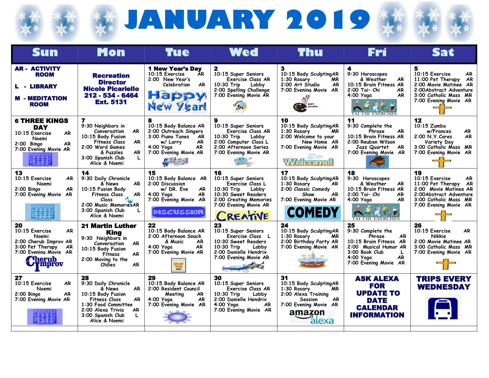 January 2019 Calendar | Lott Assisted Living Residence W Series 2019 Calendar