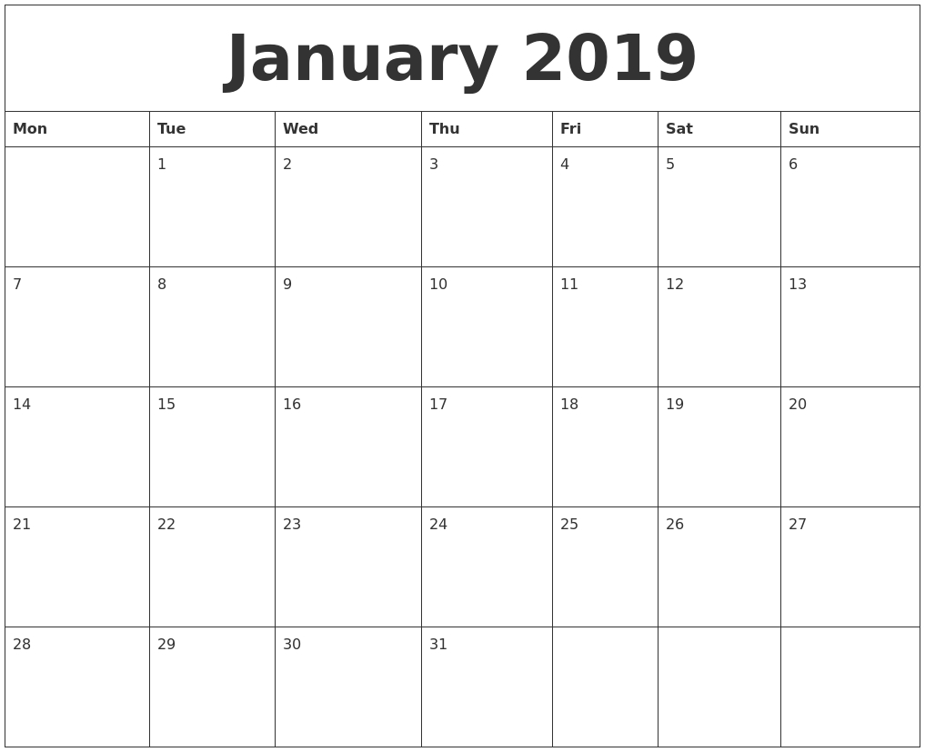 January 2019 Calendar Printable Blank Templates - Free Word Pdf Calendar 2019 January Pdf