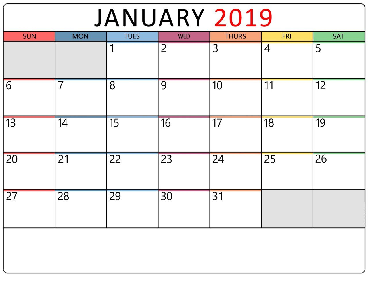January 2019 Calendar Printable Templates - January Calendar - Medium Calendar 2019 Themes