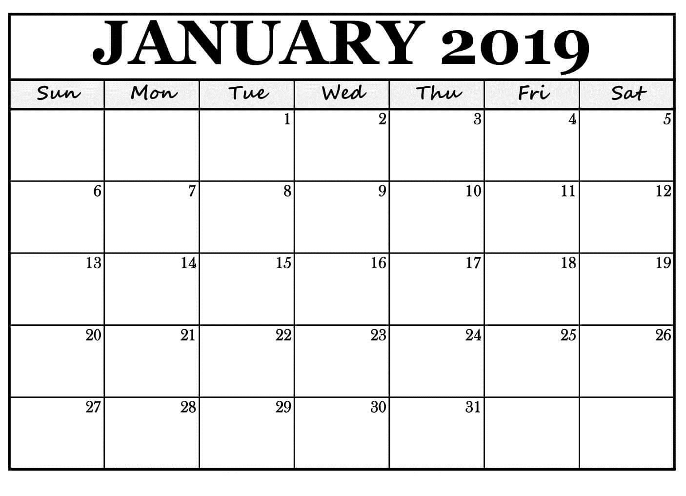 January 2019 Calendar Reminders Free Template | January 2019 Calendar 2019 January Printable