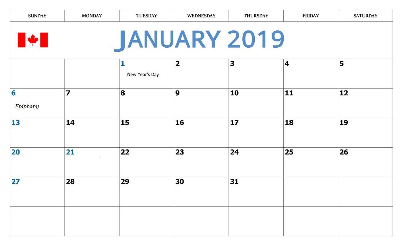 January 2019 Calendar With Holidays Canada - Free Printable Calendar Calendar 2019 Excel Canada