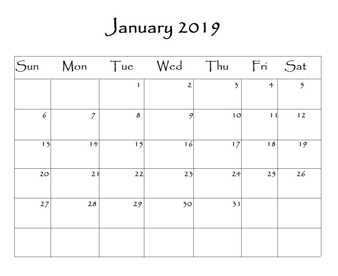 January 2019 Calendar Word | Monthly Calendar Templates | Free Calendar 2019 Template Word