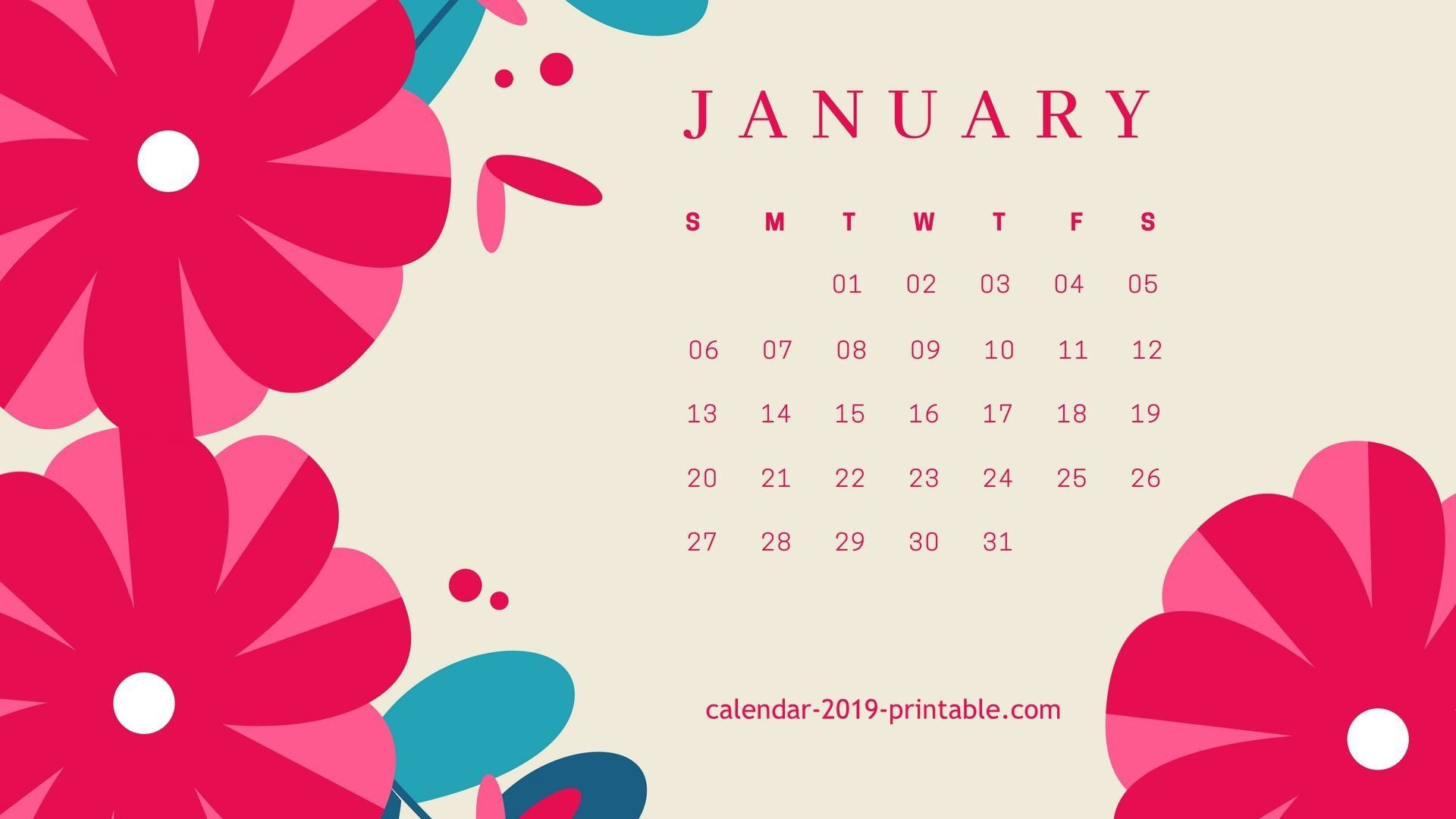January 2019 Flower Desktop Calendar Wallpaper | 2019 Calendars In Calendar 2019 On Computer