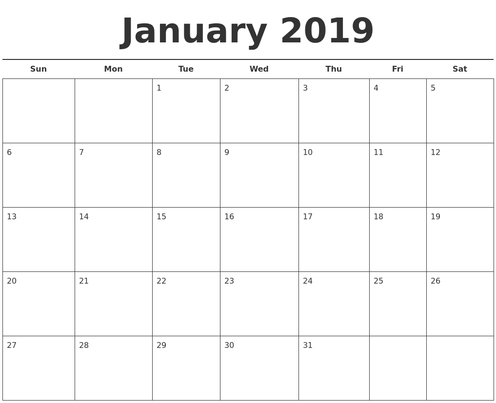 January 2019 Free Calendar Template Calendar 2019 January Template