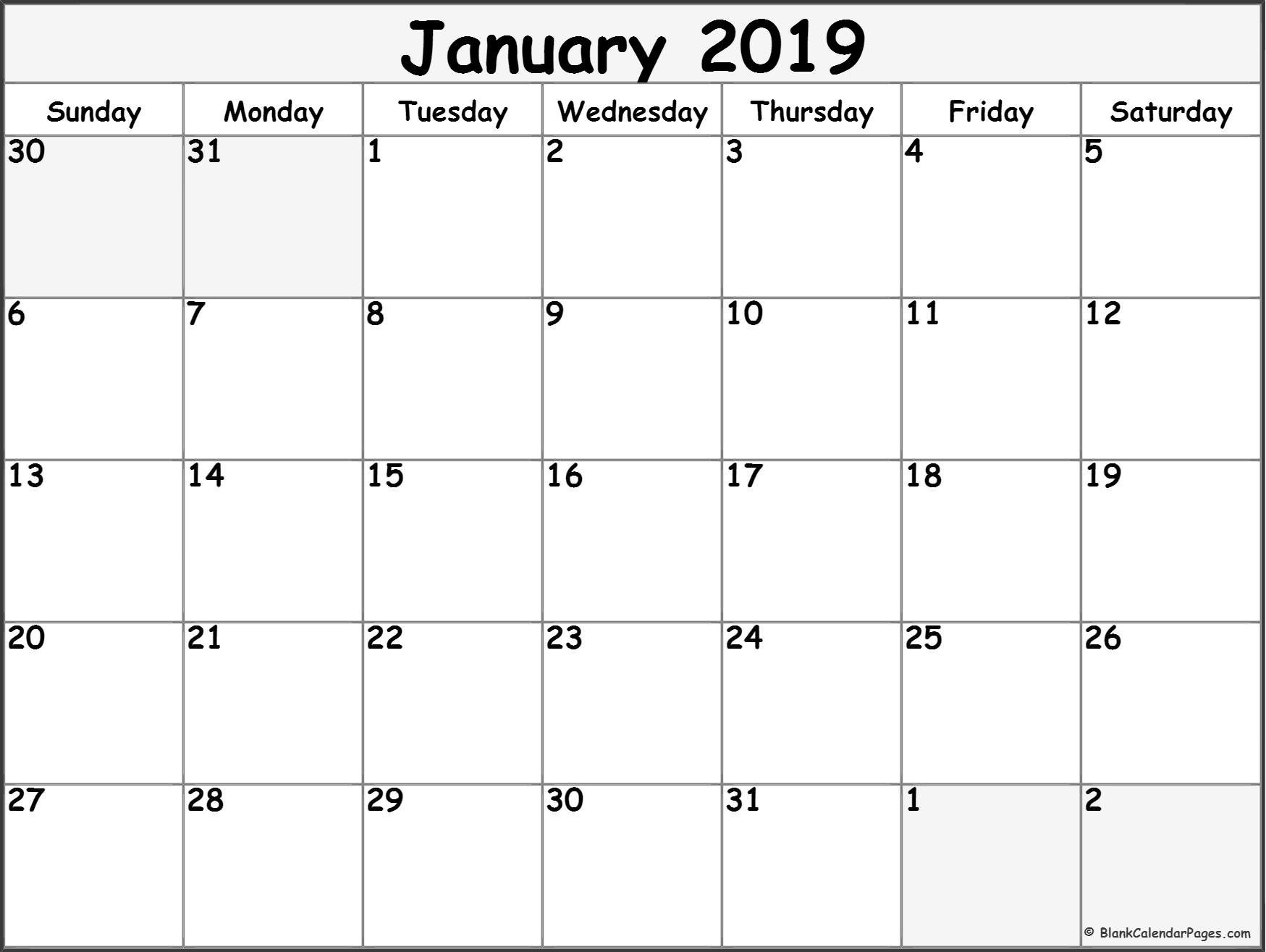 January 2019 Free Printable Blank Calendar Collection. With Calendar Calendar 2019 Free Template