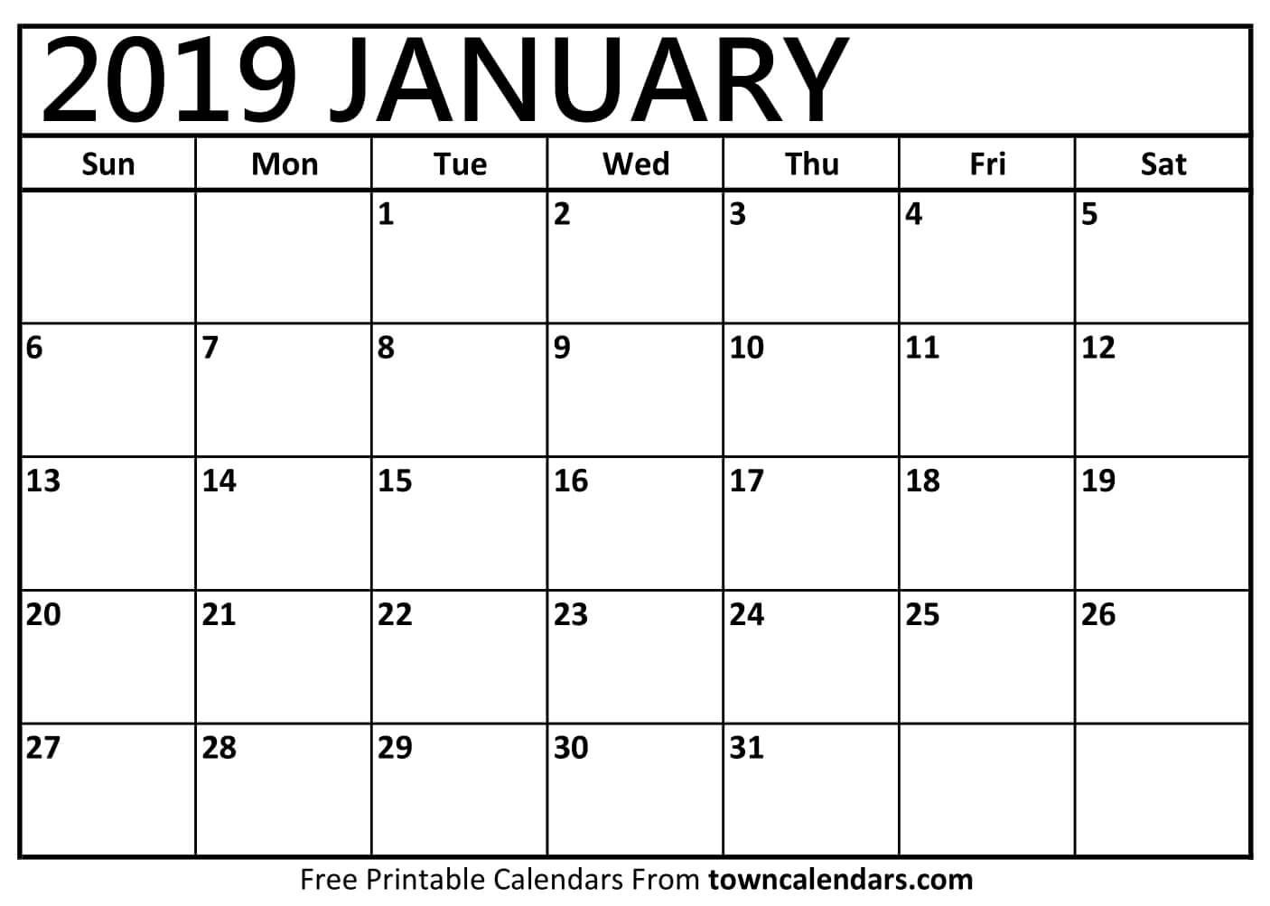 January 2019 Printable Calendar Pdf Free Monthly Template Calendar 2019 January Pdf