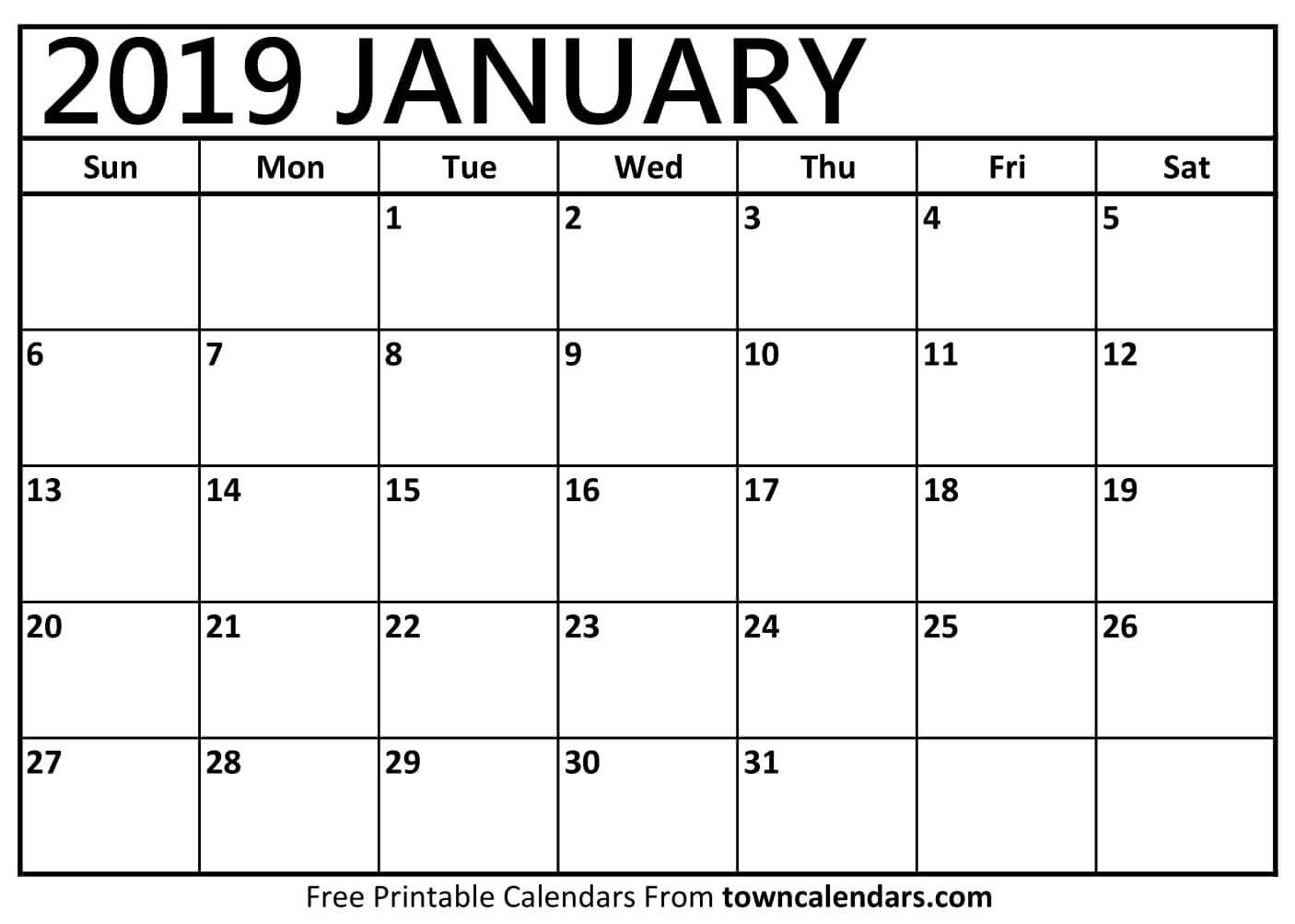 January 2019 Printable Calendar Pdf Free Monthly Template Calendar 2019 January Template
