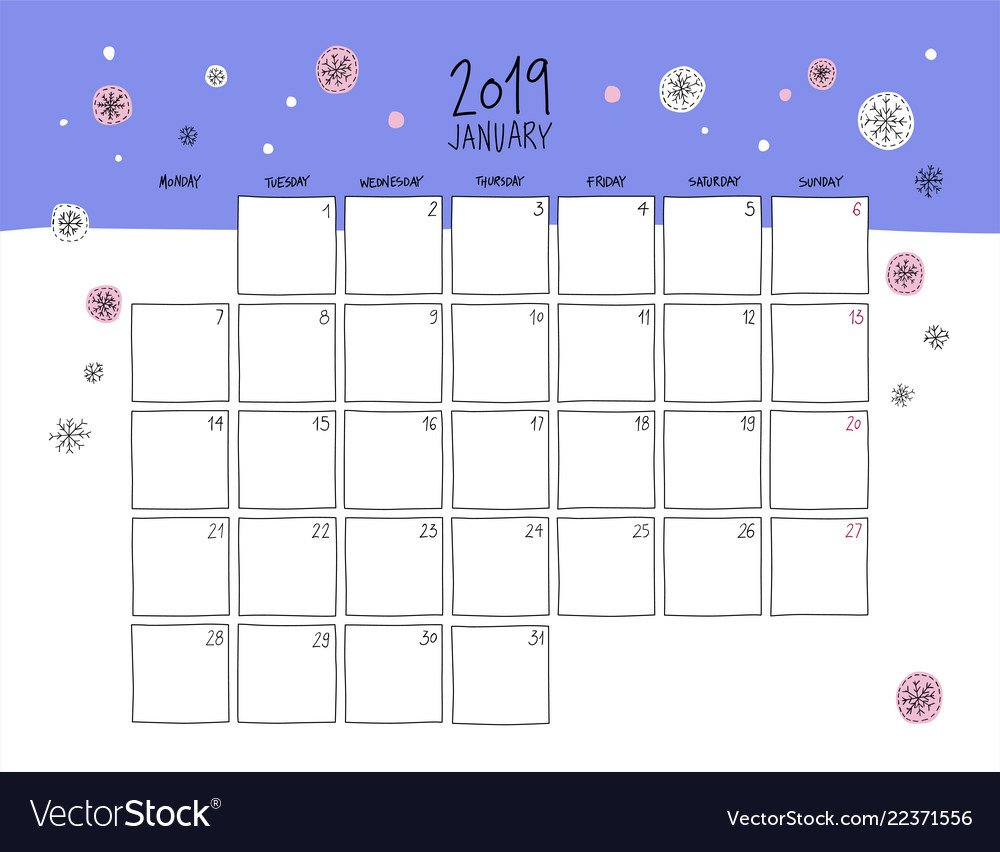 January 2019 Wall Calendar Doodle Style Royalty Free Vector Calendar 2019 For Wall