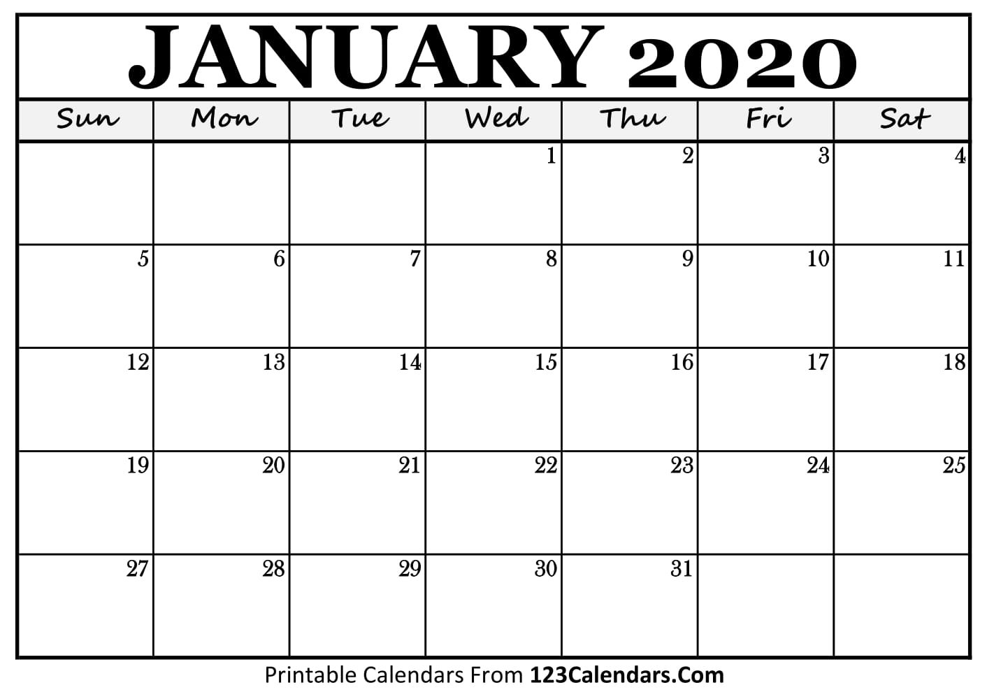 January 2020 Printable Calendar | 123Calendars A Calendar For January 2019