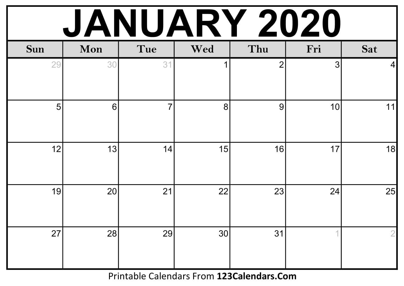 January 2020 Printable Calendar | 123Calendars Calendar 2019 January Printable