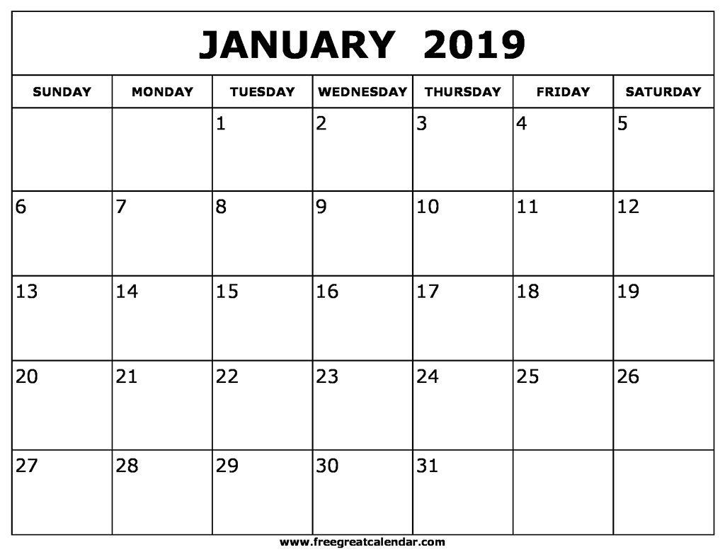 January Calendar 2019 Pdf - Free Printable Calendar, Blank Template Calendar 2019 January Pdf