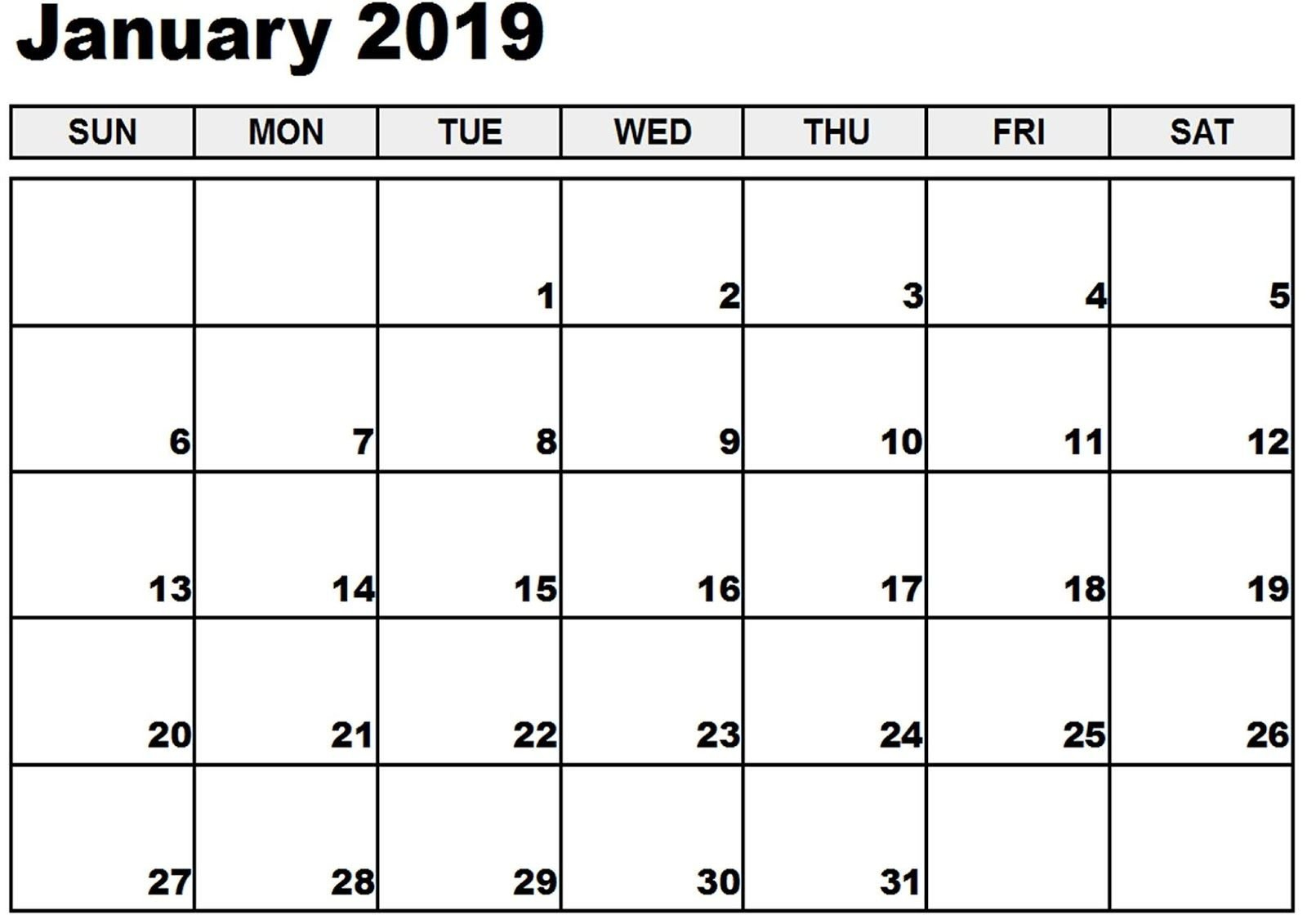 January Calendar 2019 Word #january2019 #january Calendar 2019 January Pdf