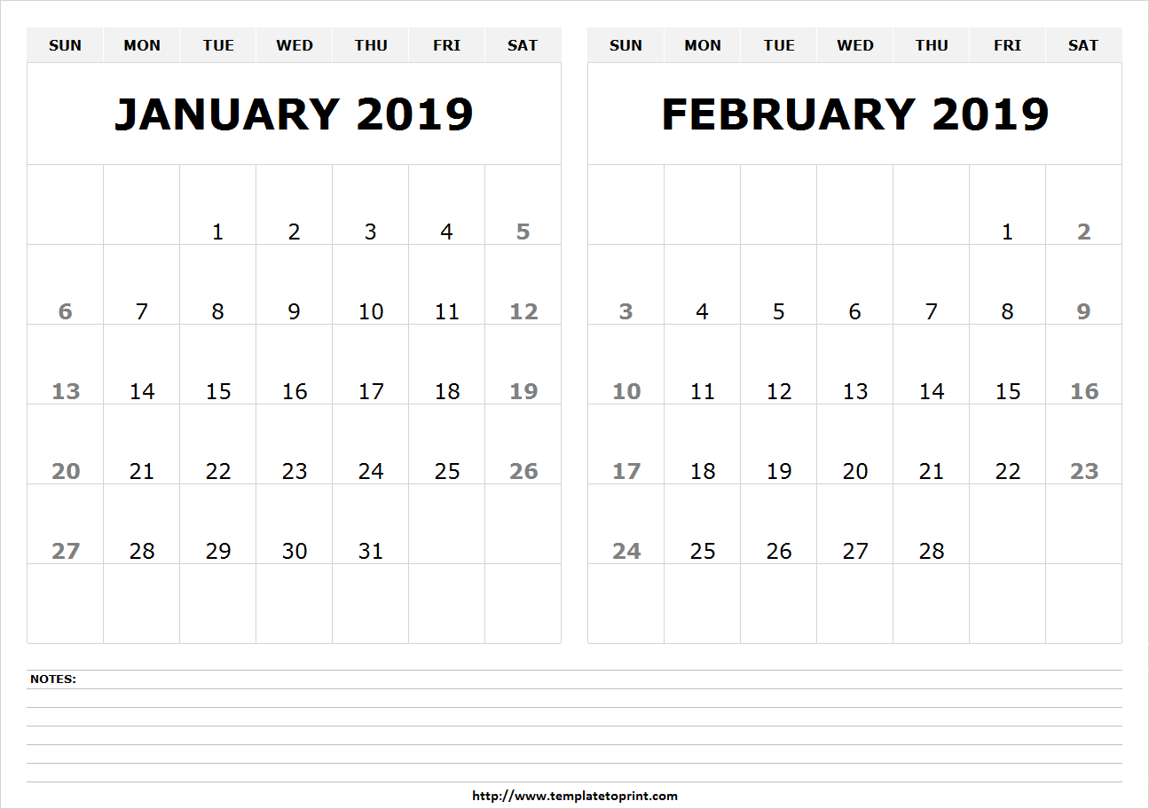 January & February 2019 Calendar | 250+ Free Monthly Calendar Calendar 2019 Jan Feb