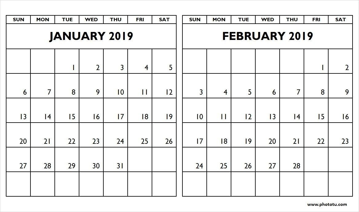 January-February-2019-Two-Month-Calendar – Phototu In January And Calendar 2019 Jan Feb