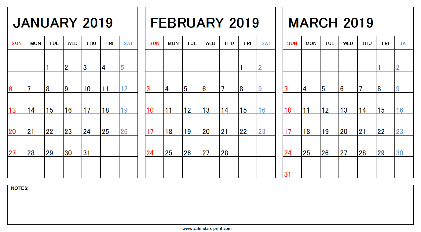 January February March 2019 Calendar With Notes | Calendars-Prin Calendar 2019 Jan Feb March