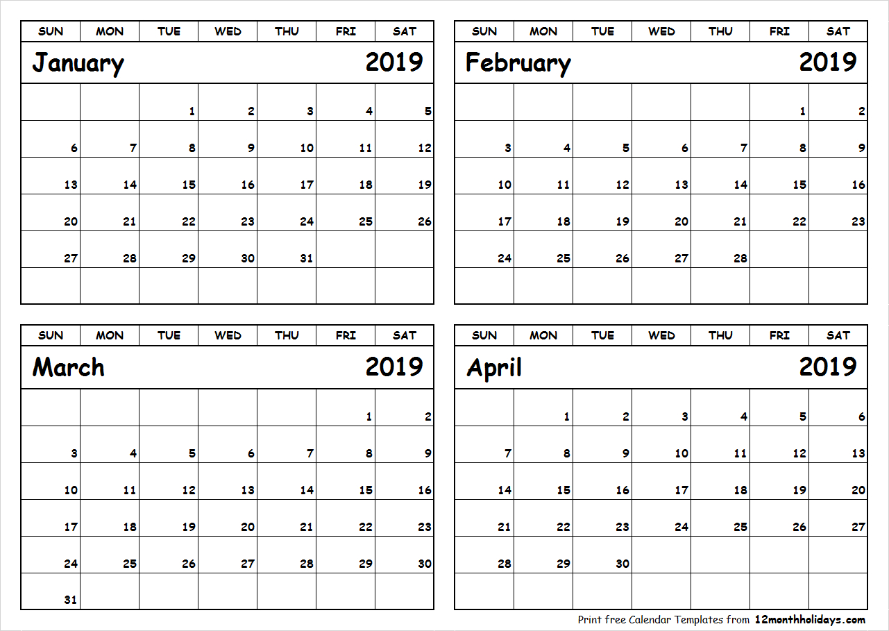 January-February-March-April-2019-Calendar-To-Print - All 12 Month Calendar 2019 January February March