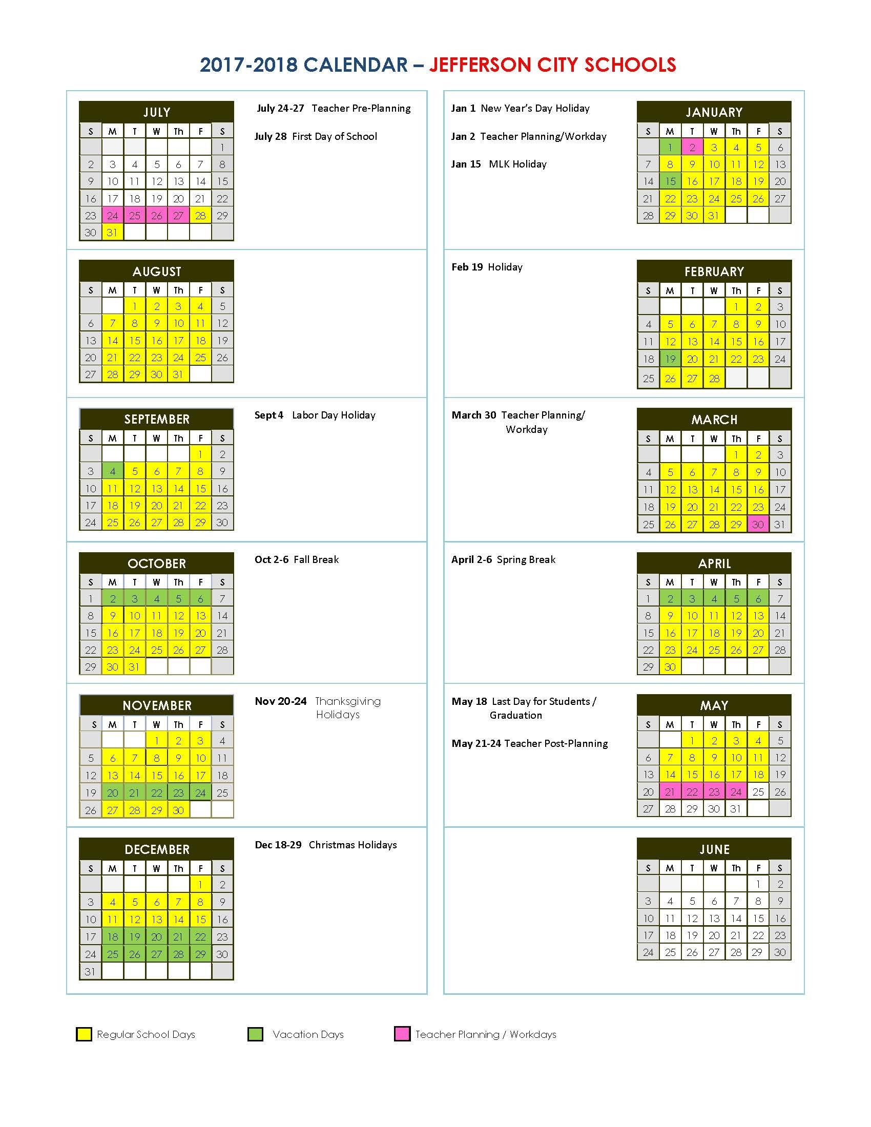 Jefferson City Schools Gwinnett County School Calendar 2019-20