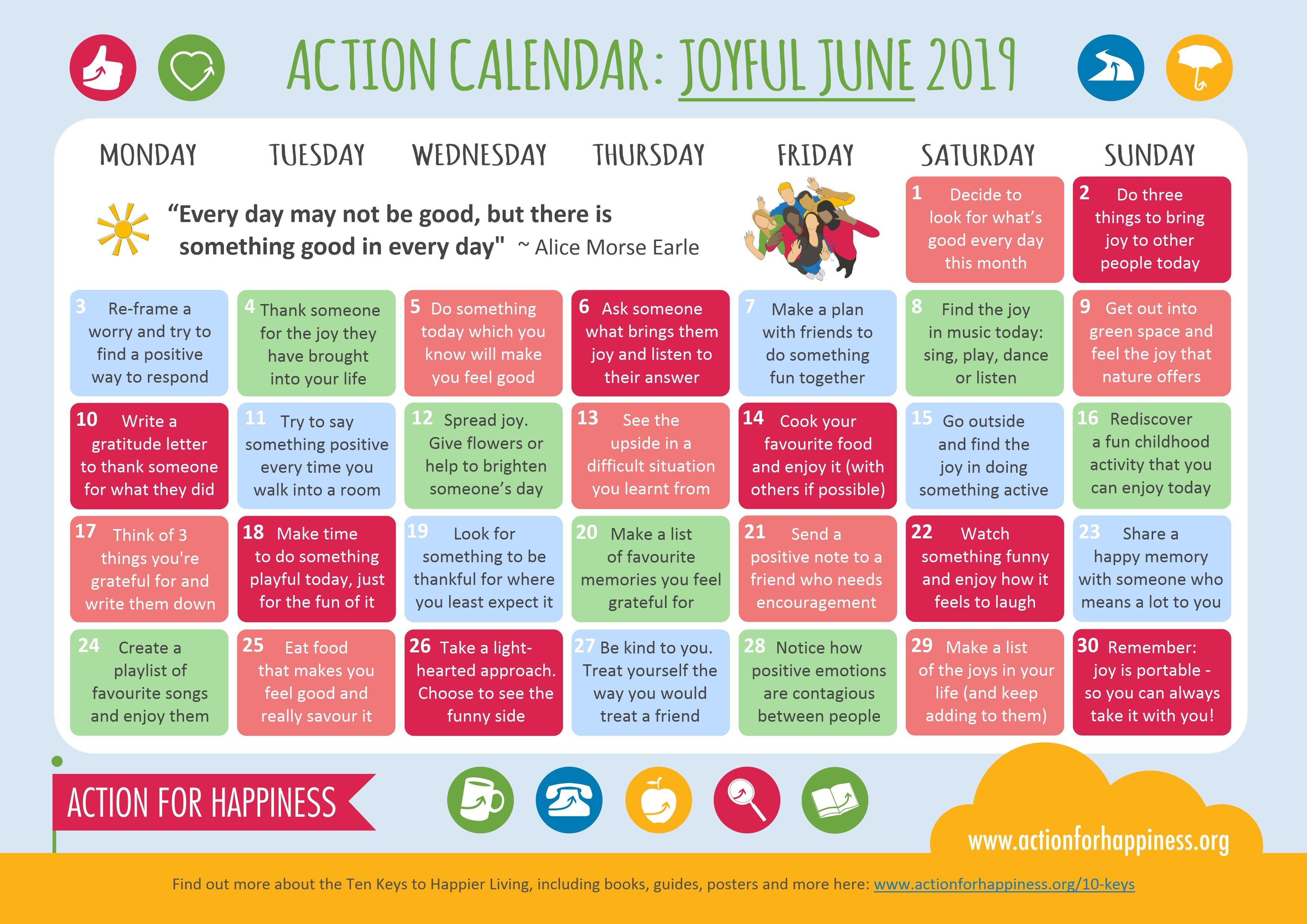 Joyful June Calendar Calendar 2019 Luxembourg