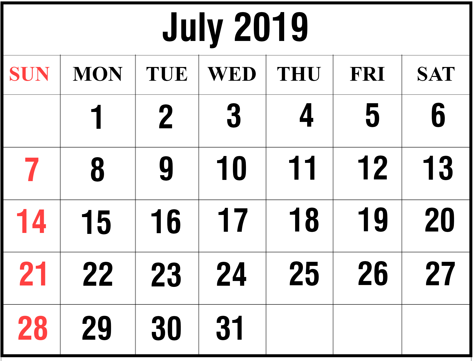 July-2019-3 – Printable Calendar Diy July 3 2019 Calendar
