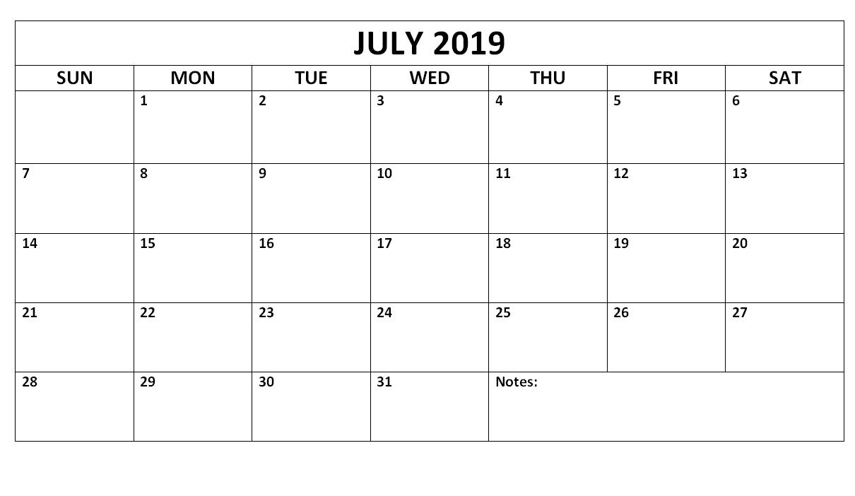 July 2019 Blank Calendar Waterproof | Free Printable July 2019 Calendar 2019 Waterproof