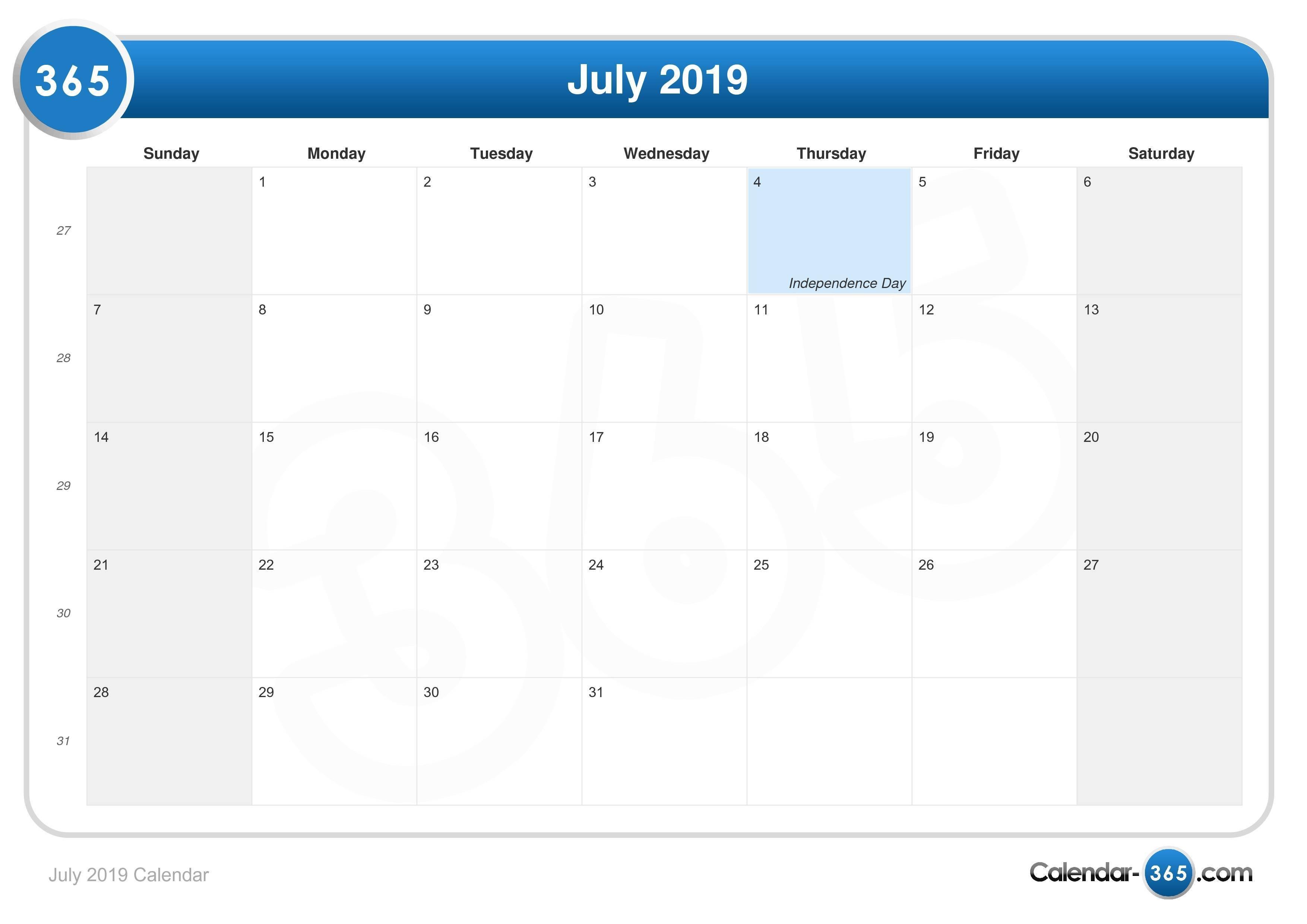 July 2019 Calendar 2019 Calendar 365