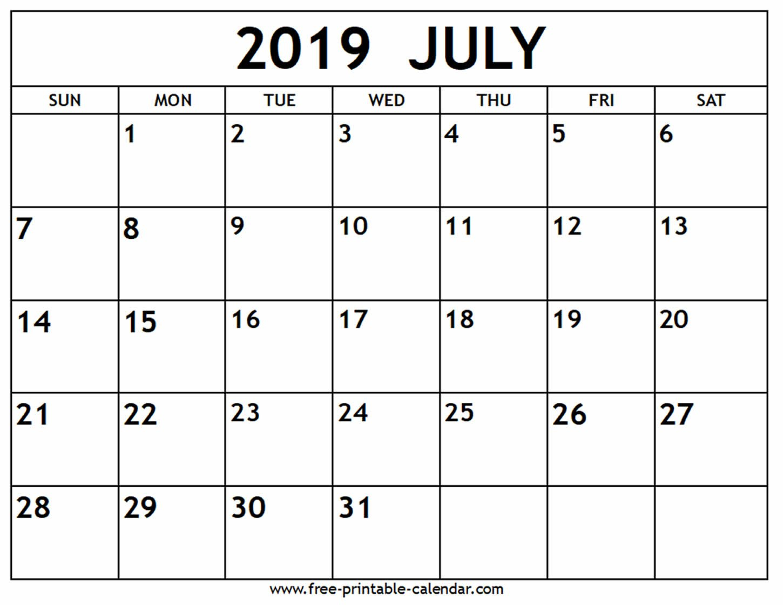 July 2019 Calendar - Free-Printable-Calendar Calendar 2019 July