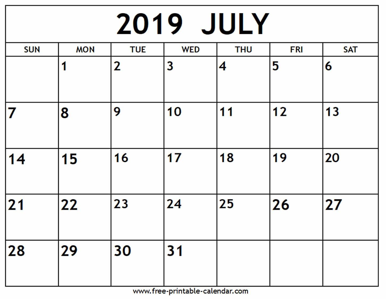 July 2019 Calendar - Free-Printable-Calendar Printable 2019 Calendar