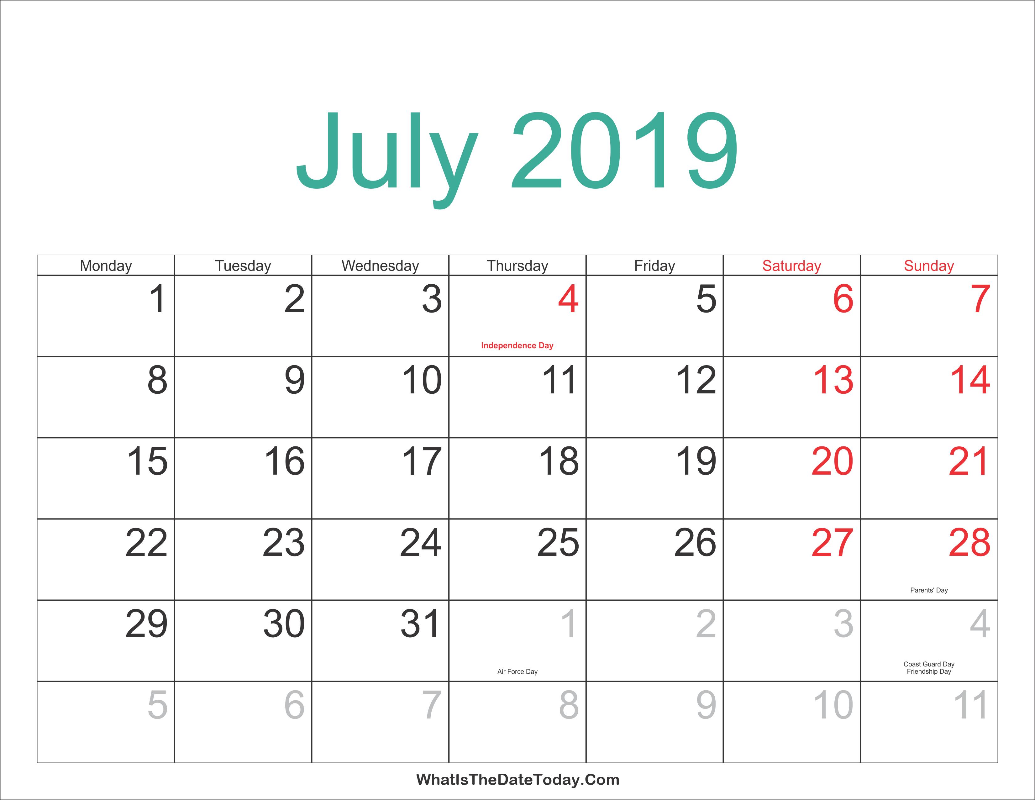 July 2019 Calendar Malaysia Calendar July 4 2019