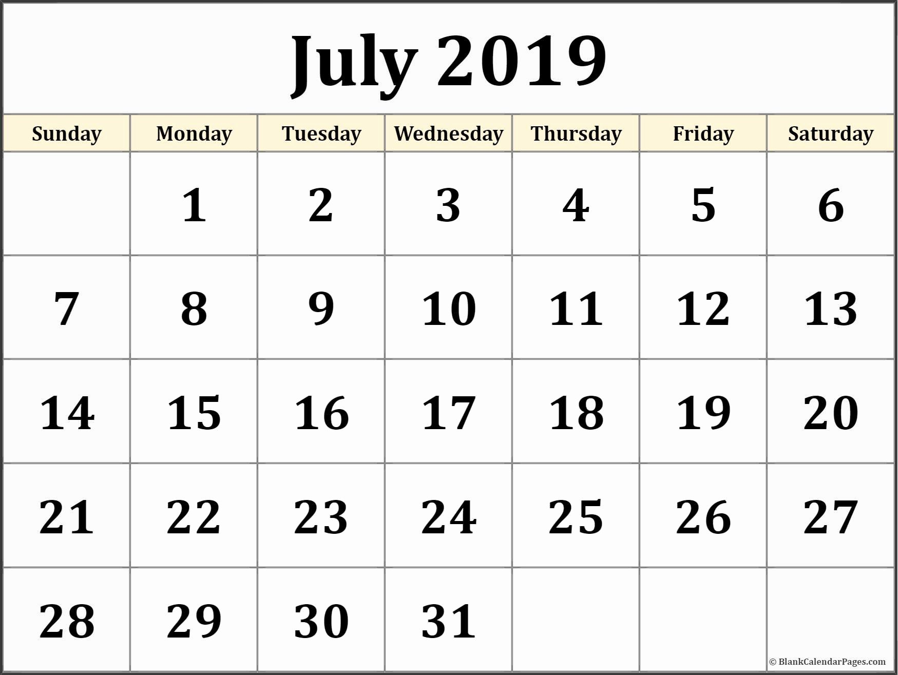 July 2019 Calendar Pdf - Free Printable Calendar, Templates And Holidays July 1 2019 Calendar