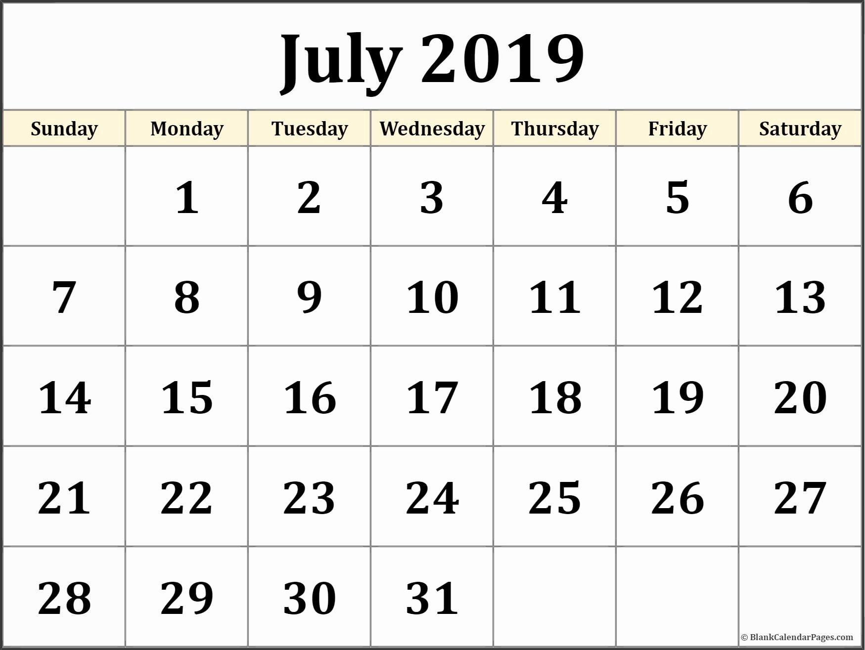 July 2019 Calendar Pdf - Free Printable Calendar, Templates And Holidays July 1 2019 Calendar
