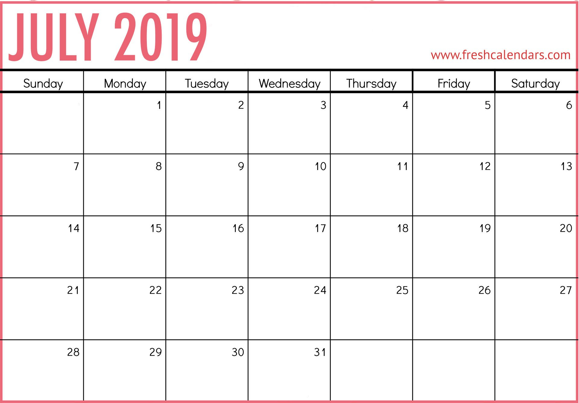 July 2019 Calendar Printable - Fresh Calendars Calendar 2019 July