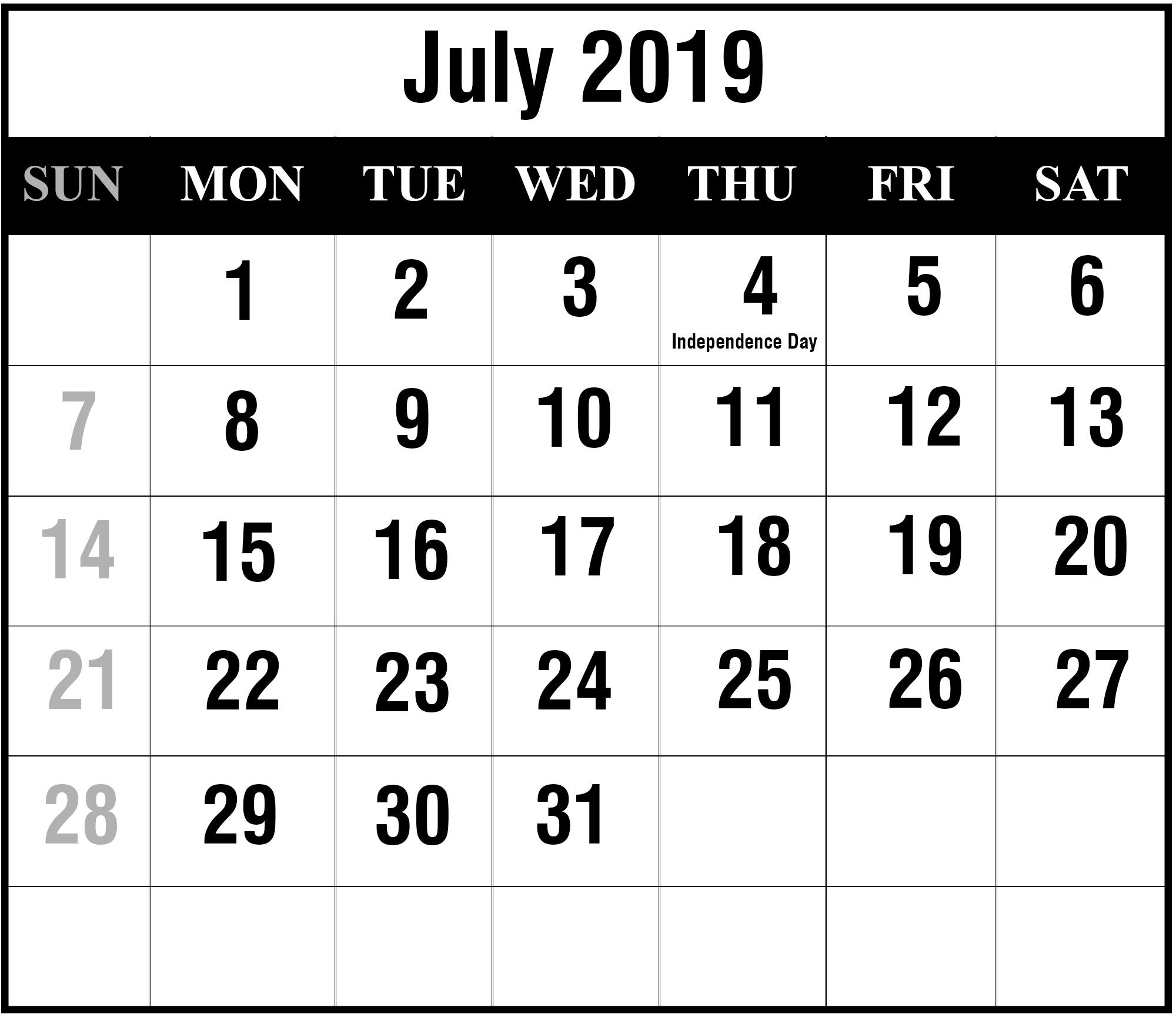 July 2019 Calendar Printable | July Blank Calendar Template Calendar July 4 2019