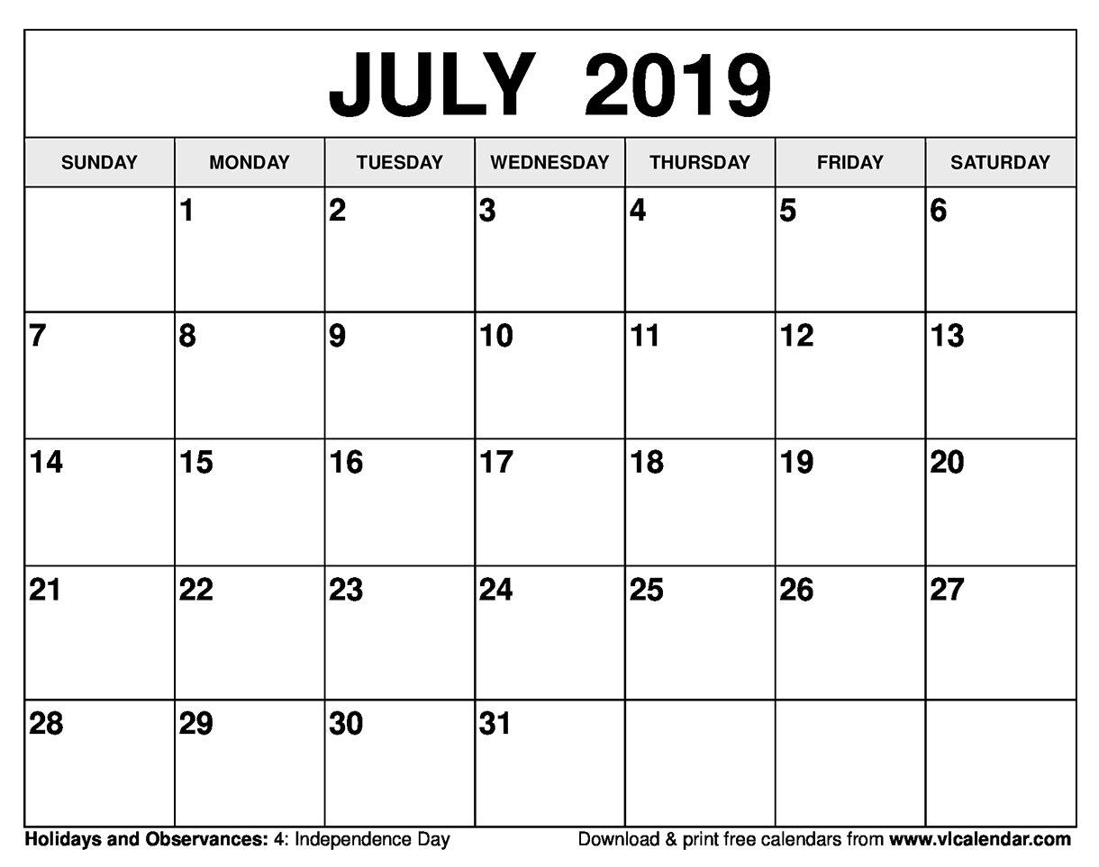 July 2019 Calendar Printable Templates Calendar July 4 2019